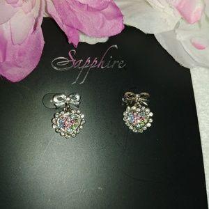 Bow heart shaped Crystal post earrings